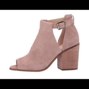 Sole Society Open Toe bootie, 7 in mushroom suede